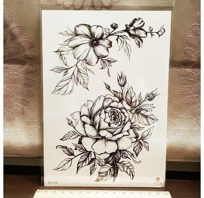 【萌古屋】巴洛克風花朵大圖 - 男女防水紋身貼紙刺青貼紙TH-173