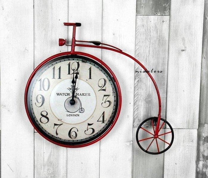 尼克卡樂斯~復古腳踏車設計掛鐘 靜音時鐘 工業風掛鐘 歐洲鄉村風時鐘 客廳時鐘 臥室時鐘 壁掛鐘 咖啡廳店面壁掛鐘