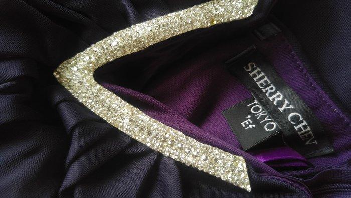 SHERRY CHEN TOKYO'S V水鑽深V 深紫色前短後長訂製款小禮服