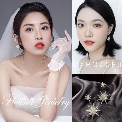 賓士印象~新娘優雅清新銀針水鉆耳環新款潮韓國氣質網紅長款星星耳釘耳飾女