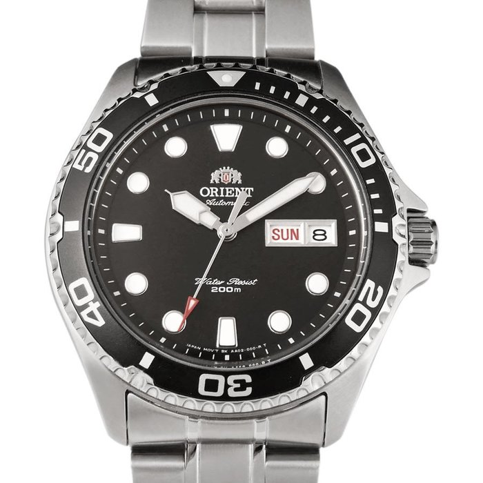 ORIENT 東方錶 WATER RESISTANT系列 200m潛水機械錶 鋼帶款 黑色 FAA02004B (免運)
