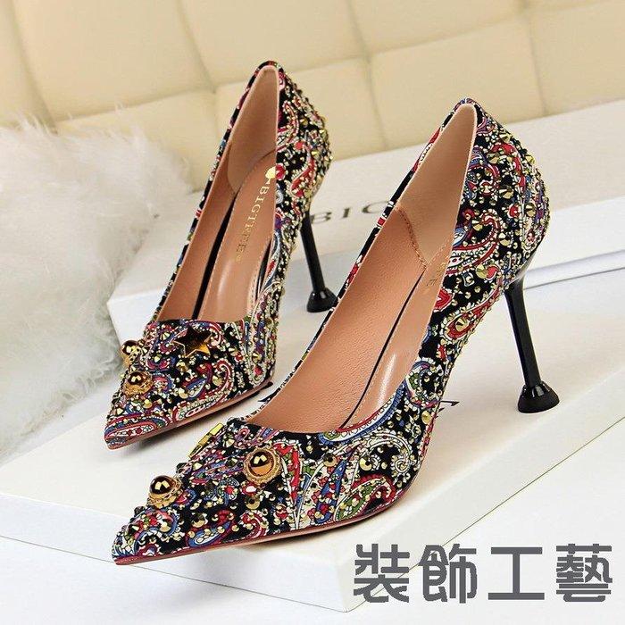 278-12復古高跟拼色布面淺口尖頭顯瘦高跟鞋宴會女鞋水鉆單鞋