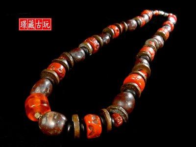 ﹣﹦≡|璟藏古玩|藏傳山珊瑚銅片隔珠項飾(總長65公分)∥(直購價,不設底價,只給第一標)∥≡﹦﹣