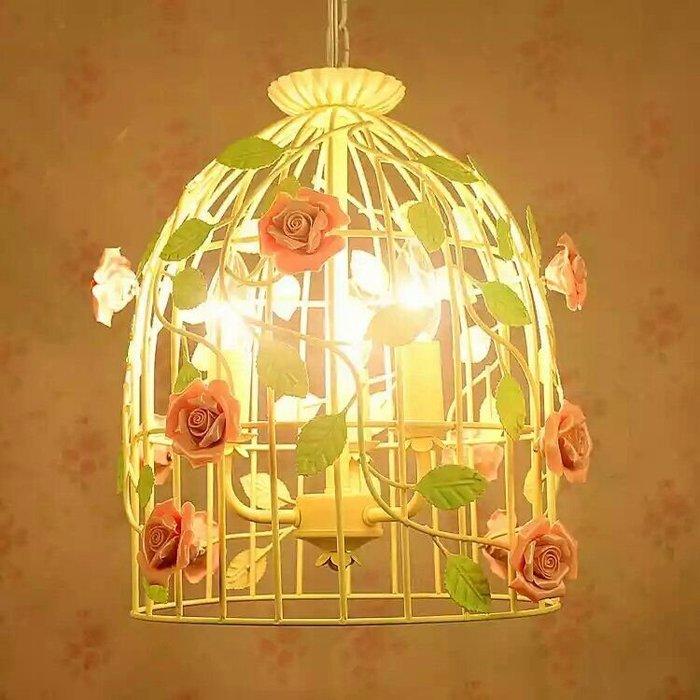 粉紅玫瑰精品屋~韓式田園風格個性鐵藝鳥籠吊燈餐廳吊燈~