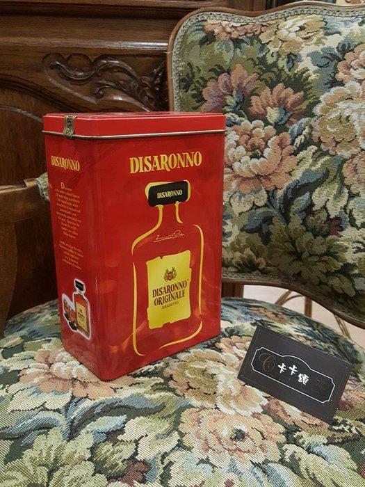 【卡卡頌 歐洲跳蚤市場/歐洲古董】歐洲老件_紅 Disaronno 老鐵盒 咖啡罐 餅乾盒 小物收納盒 m0539✬