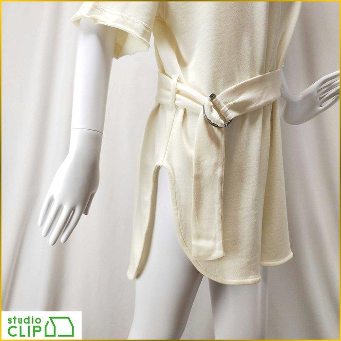 日系/studio CLIP/舒適女上衣/前短後長/長版寬鬆/純棉上衣/米白/套頭衫/腰帯/女 L号/A1F20S