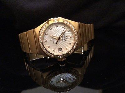 OMEGA 歐米茄 星座系列 Constellation Chronometer 原鑲鑽18K玫瑰金 27mm