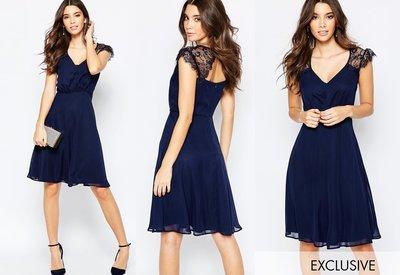 ◎美國代買◎ASOS代買蕾絲袖拼接V領上衣圓紗裙浪漫氣質女人味低胸蕾絲袖洋裝~歐美街風~大尺碼