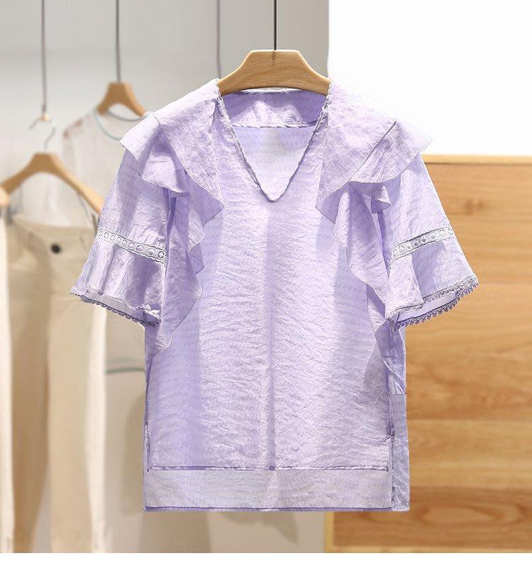 【木風小舖】V領蕾絲邊 圓點花紋 荷葉片造型上衣*2色