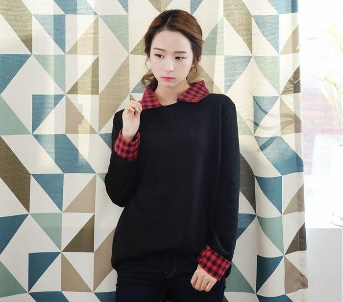 ☆Candy Box☆韓版襯衣領時尚潮流拼接打底長袖女裝T恤 上衣 Y1321508