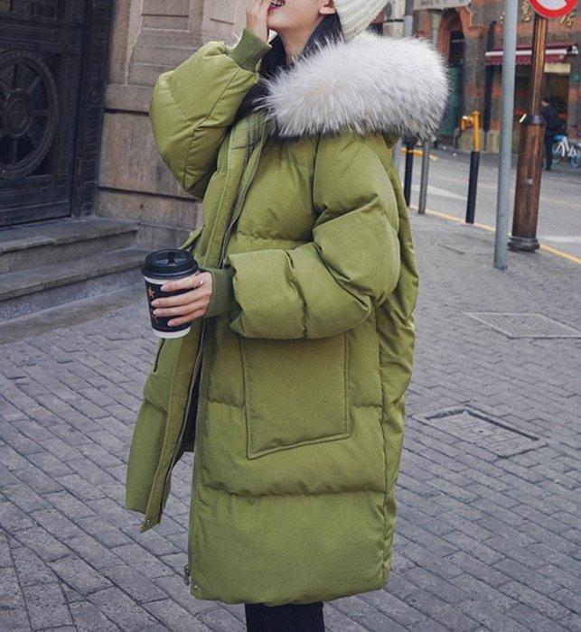 ☆R&M☆韓版2019冬季新款厚實保暖連帽毛領棉服外套(果綠色)~預購+現貨