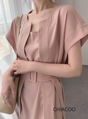 CHIACOO歐美 韓國 復古 寬袖 拼接 腰帶 收腰 洋裝 連身裙 法式優雅 及膝裙 favvi snidel h&m