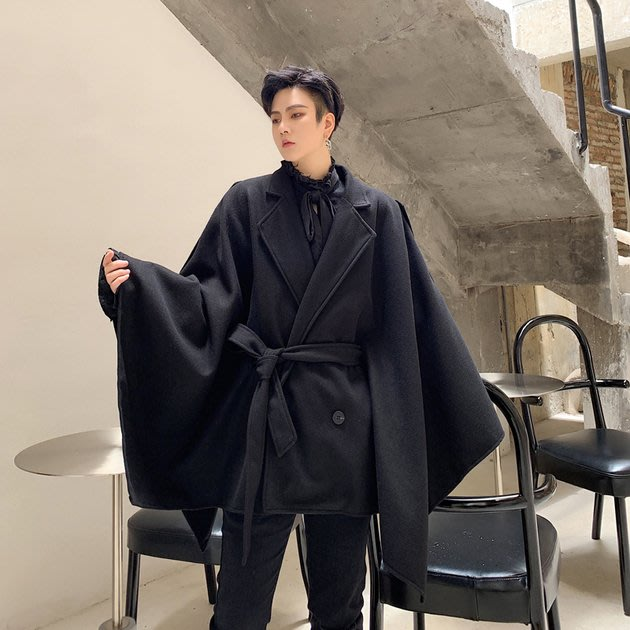 FINDSENSE 2019 秋冬上新 G19  暗黑大翻領呢料斗篷寬鬆呢料披風大衣男裝百搭寬鬆休閒外套