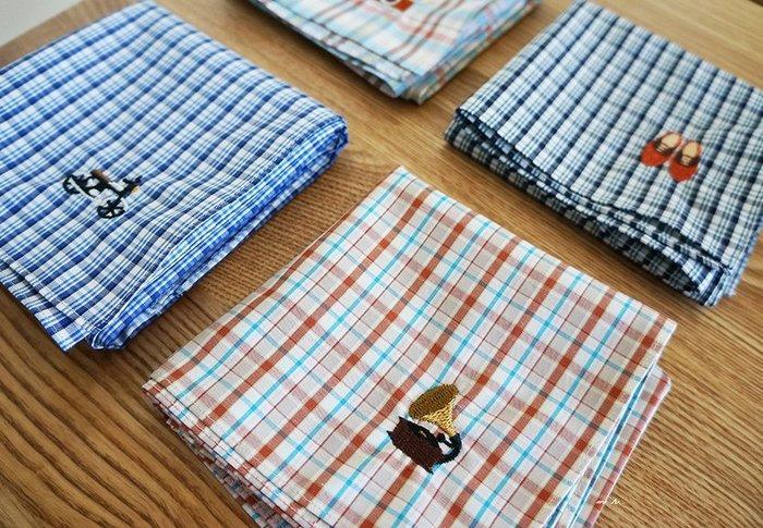 京都 【ハンカチベーカリー】日本製 刺繡 紳士 格紋 方巾 手帕 (大)