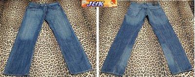 日本 BIG JOHN  牛仔褲 修身 中腰 直筒~顏色:藍-男款尺寸:XL(35腰)【特價】【J&K嚴選】LV