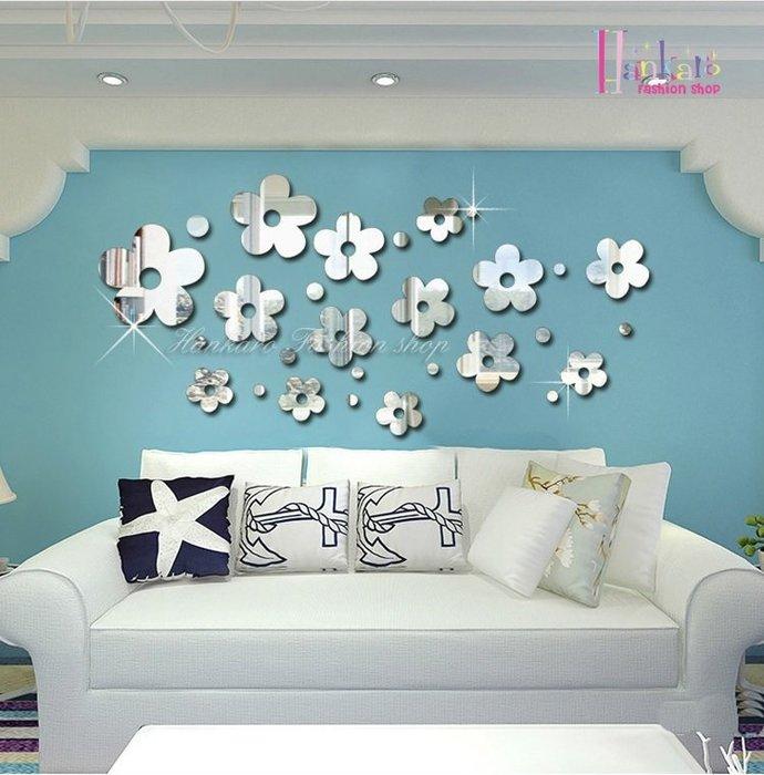 ☆[Hankaro]☆ 歐式壓克力鏡面立體可愛花朵牆貼(1套)