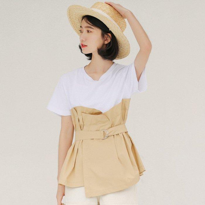 SeyeS  古著韓系街頭時尚寬腰封假二件式上衣