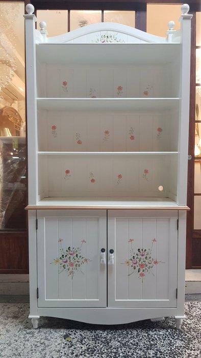 仿古彩繪雙門書櫃