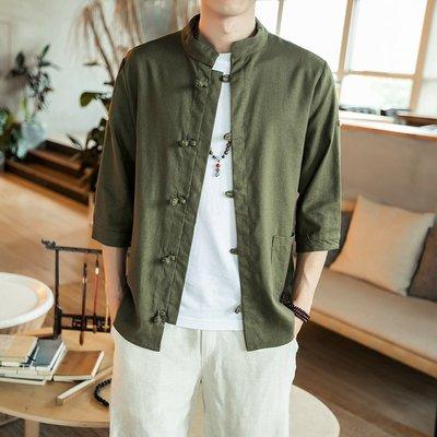 中國風5五分袖亞麻襯衫男士新民族風7七分短袖襯新衣棉麻中袖復古唐裝