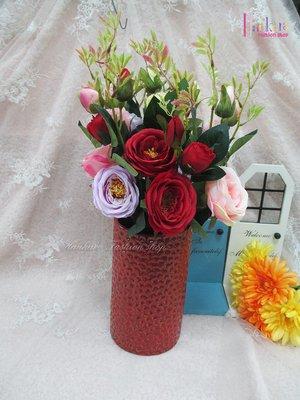 ☆[Hankaro]☆創意流行紅色紋路陶瓷花瓶(樣品出清)