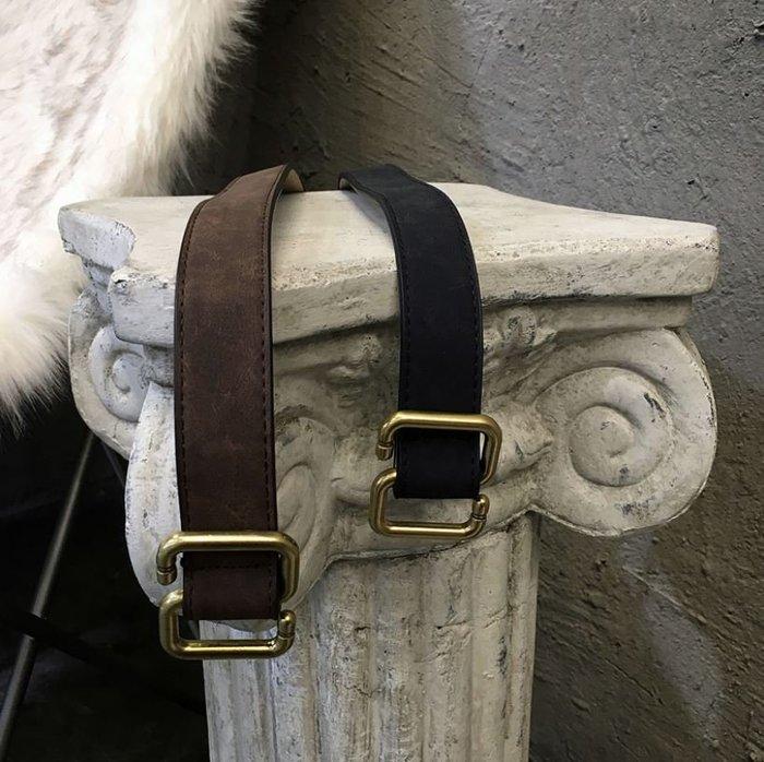 【NoComment】韓系時尚 質感簡約 復古PU皮革金扣皮帶 兩色 ZARA H&M