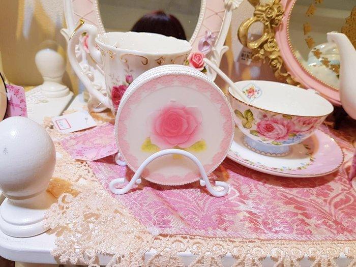 粉紅玫瑰精品屋~Farm house田園小資玫瑰花隔熱防燙杯墊碗墊4片組~