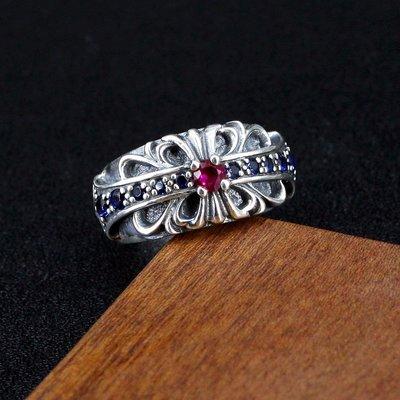 銀革手作 925 純銀 紅藍寶石 十字唐草紋 戒指
