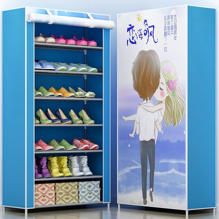 居家 置物架 鞋架 收納架 簡約 創意 簡易鞋架 多層家用收納鞋柜布藝簡約現代經濟型防塵鞋架子