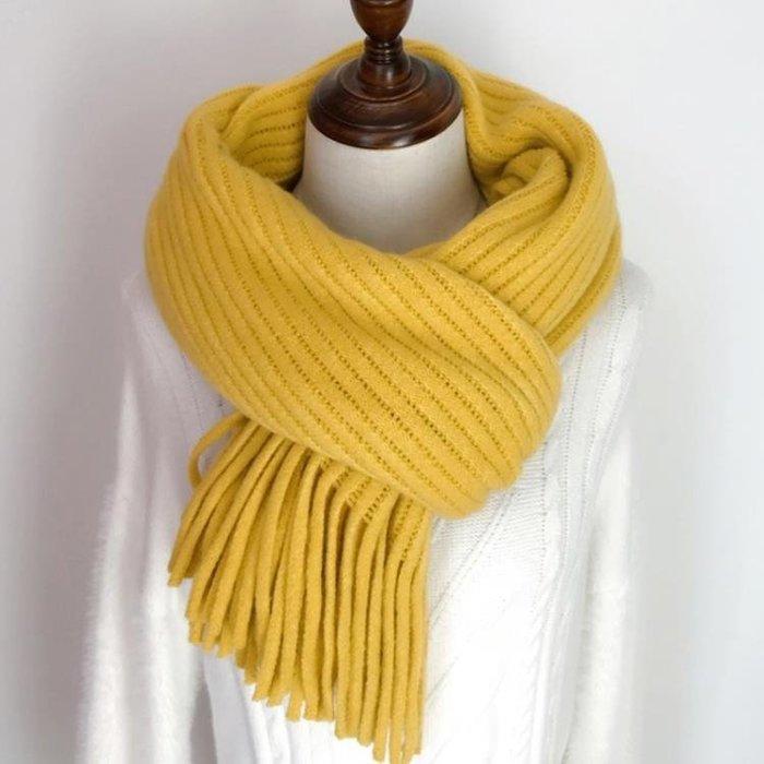 純色流蘇圍巾女冬季韓版百搭學生日系小清新針織加厚保暖毛線圍脖