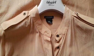 【CLUB MONACO 】  粉膚色100 % SILK 純蠶絲透視軍裝風長袖襯衫