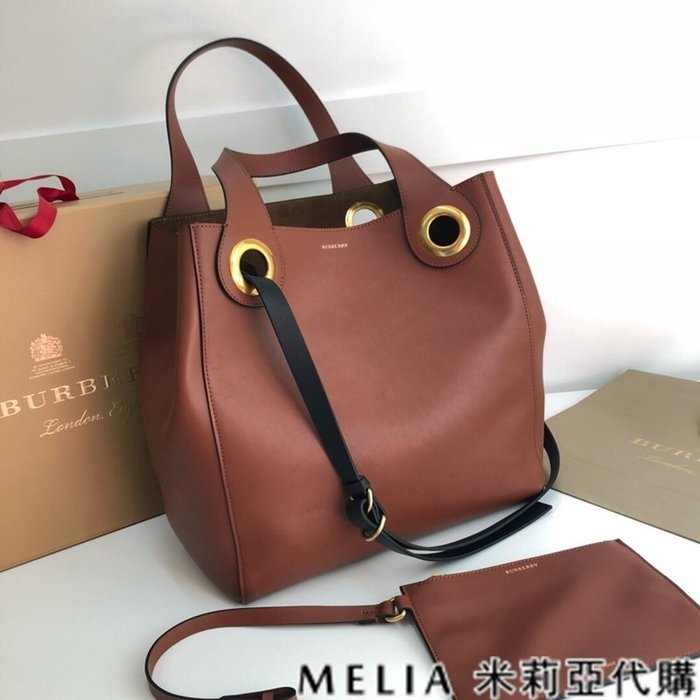Melia 米莉亞代購 美國精品代購 巴寶莉 戰馬 女士秋冬新款 購物包 小牛皮 內麂皮 手提肩背 棕色