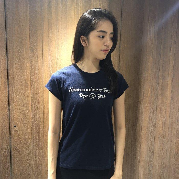 美國百分百【Abercrombie & Fitch】T恤 AF 短袖 T-shirt 短T 麋鹿 女 深藍 I360