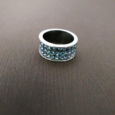 DYRBERG/KERN 天藍,紫藍,層次藍施華洛士奇水晶 戒指 打翻珠寶盒r18