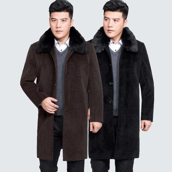 中老年男士呢子大衣冬季加厚毛呢外套休閒爸爸裝父親中長款風衣-小精靈生活館