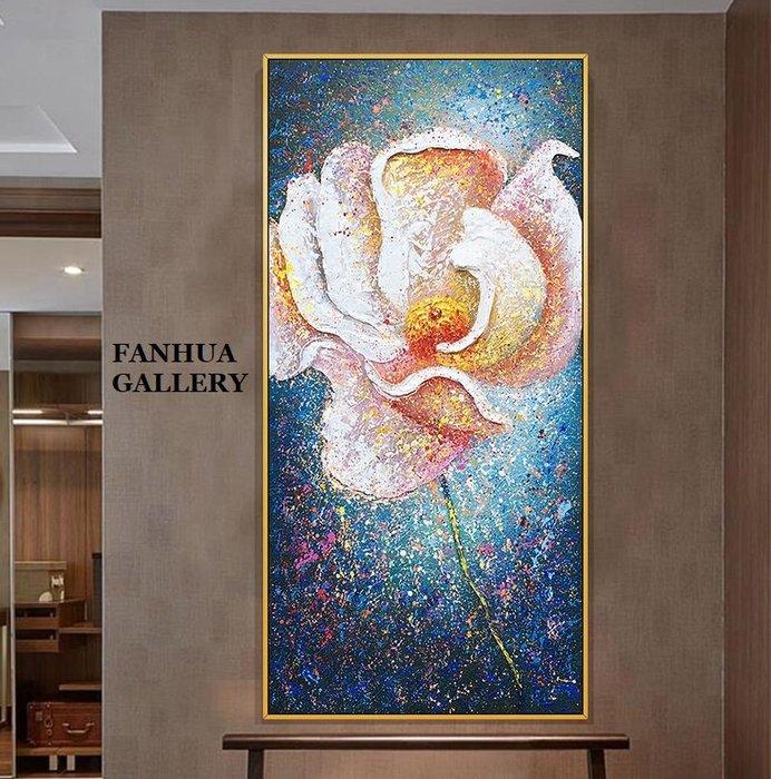 C - R - A - Z - Y - T - O - W - N 純手繪立體筆觸油畫幸福花開抽象花卉手繪油畫藝術掛畫