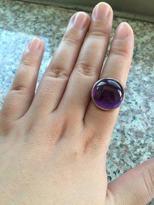 天然紫水晶純銀戒指