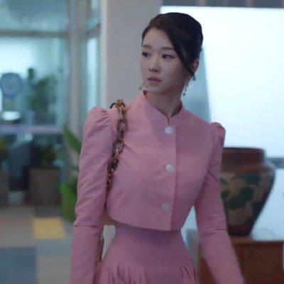 預購-韓劇同款雖然是精神病但沒關係徐睿知同款粉色短外套半身裙套裝