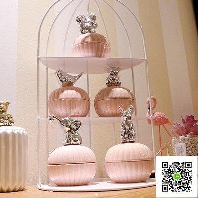 北歐風陶瓷首飾盒電鍍動物粉色收納罐電鍍少女心桌面戒指收納盒
