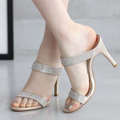 『P.M❤SHOP』2020新款夏涼鞋水鑽百搭高跟涼拖細跟魚嘴露趾一字帶涼鞋女夏