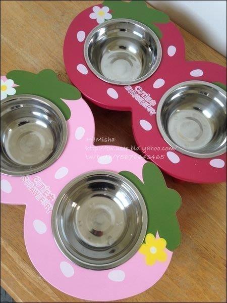 ✿ Misha ✿ 寵物木製寵物餐桌 草莓圓圓雙碗 貓狗適用 餐架 附贈兩碗 紅/粉 現【滿千免運】