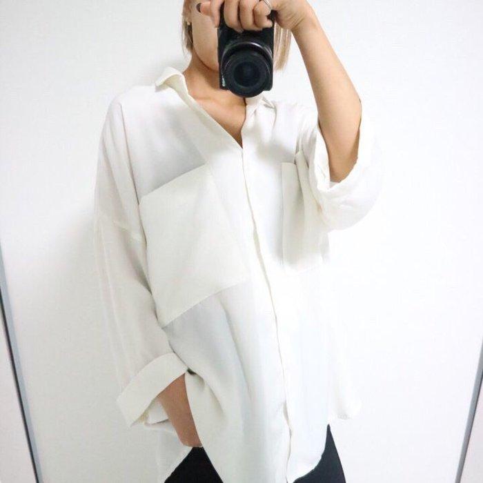 EVA精緻坊【韓國衣飾】【雙口袋寬口七分袖襯衫】黑, 白 現貨