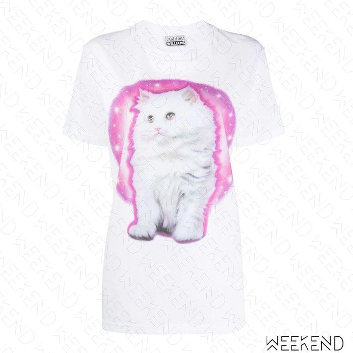 【WEEKEND】 ASHLEY WILLIAMS Life is Pain 印圖 文字 貓咪 短袖 T恤 上衣