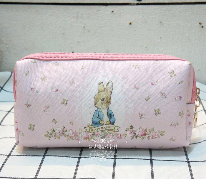 ~*歐室精品傢飾館*~Peter Rabbit 彼得兔 比得兔 鄉村風格 側兔小花 萬用包 筆袋 化妝包~新款上市~