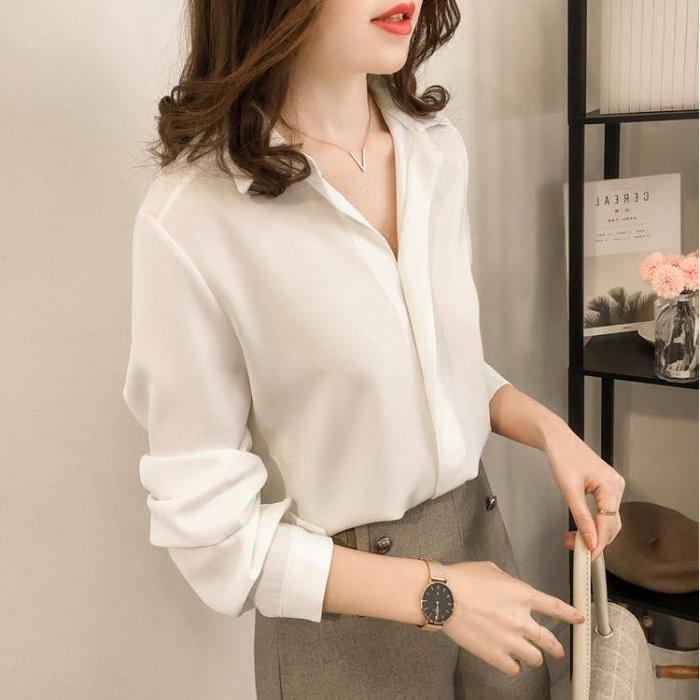 韓版長袖雪紡衫 寬鬆百搭 4色