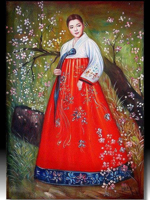 【 金王記拍寶網 】U1356  陳逸飛款 朝鮮畫風 人物圖 手繪原作 厚彩油畫一張 罕見 稀少 藝術無價~