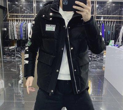 歐韓貨潮牌羽絨服男短款2021冬季新款時尚潮流連帽印花保暖休閒修身外套