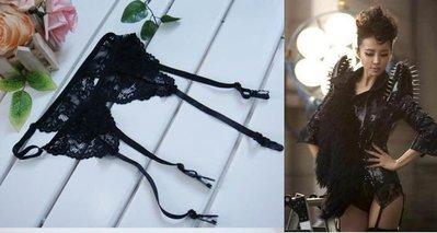 ╭~°玩嗨長灘 ~性感女神蔡依林同款黑色蕾絲吊襪帶大小 調節.直 100元.現 預7~10