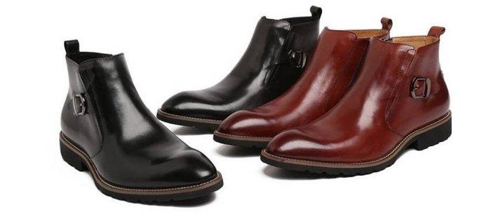 新品 秋冬英倫皮靴 頭等牛皮潮流尖頭靴子 拉鍊男靴 手工縫製