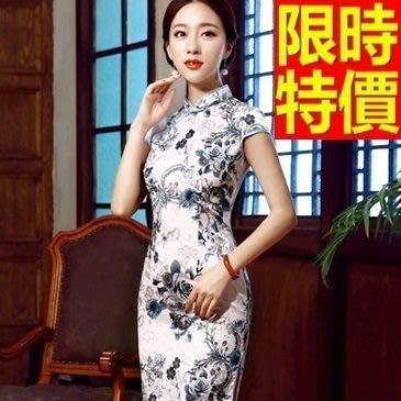 旗袍 短禮服-唐裝 時尚低開叉性感唯美中式女連衣裙2色65o10[獨家進口][米蘭精品]
