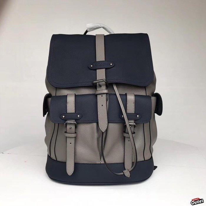 【全球購.COM】COACH 49543 HUDSON backpack 男士登山包 灰拼真皮雙肩包 美國代購